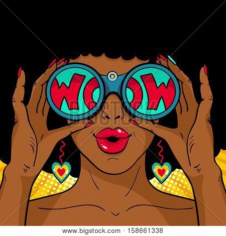 Wow pop art female face. Sexy surprised african woman with open mouth holding binoculars in her hands with inscription wow in reflection. Vector colorful background in pop art retro comic style.