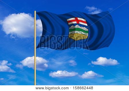 Albertan provincial official flag symbol. Canada banner. Canadian AB patriotic element. Flag of the Canadian province of Alberta on flagpole waving in the wind blue sky background. Fabric texture. 3D rendered illustration