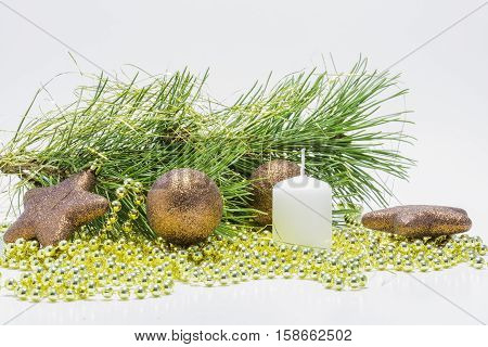 Christmas collection decorative ornaments on white background.