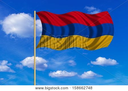 Armenian national official flag. Patriotic symbol banner element background. Correct colors. Flag of Armenia on flagpole waving in the wind blue sky background. Fabric texture. 3D rendered illustration