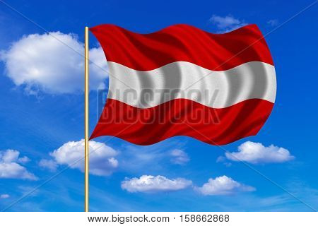Austrian national official flag. Patriotic symbol banner element background. Correct colors. Flag of Austria on flagpole waving in the wind blue sky background. Fabric texture. 3D rendered illustration