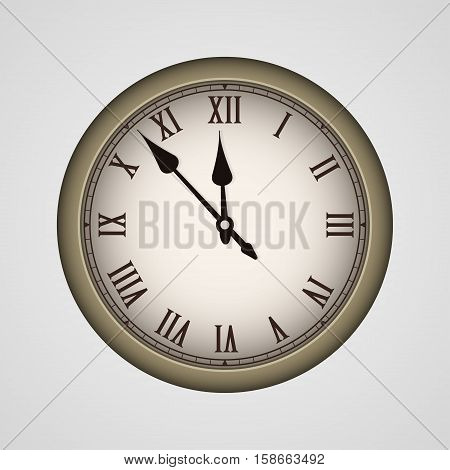 Bronze realistic vintage clock isolated. Vector illustration