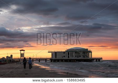 The Rotonda a mare in Senigallia at sunset Marche Italy