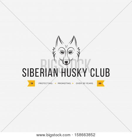 Vector image of a dog siberian husky design on white background and yellow background Logo Symbol Animals. Siberian Husky Club