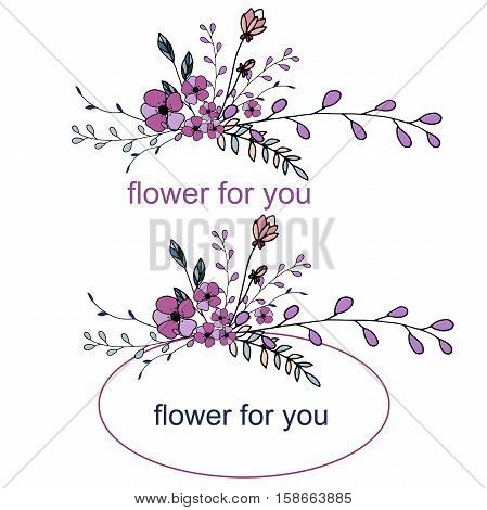 vector flower frame for you cards and logo