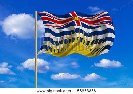 Canadian provincial BC patriotic element and official symbol. Canada banner. Flag of the Canadian province of British Columbia on flagpole waving in the wind blue sky background. Fabric texture. 3D rendered illustration