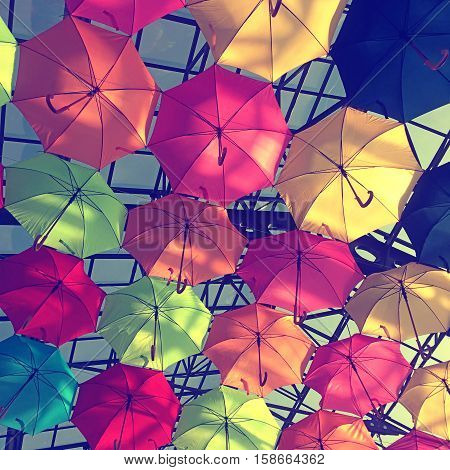 Street decorated with multicolored umbrellas in sunny day. Square toned image