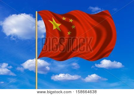 Chinese national flag. Symbol of the People's Republic of China. Patriotic PRC background design. Correct colors. Flag of China on flagpole waving in the wind blue sky background. Fabric texture. 3D rendered illustration