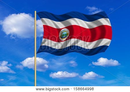 Costa Rican national official flag. Patriotic symbol banner element background. Correct colors. Flag of Costa Rica on flagpole waving in the wind blue sky background. Fabric texture. 3D rendered illustration