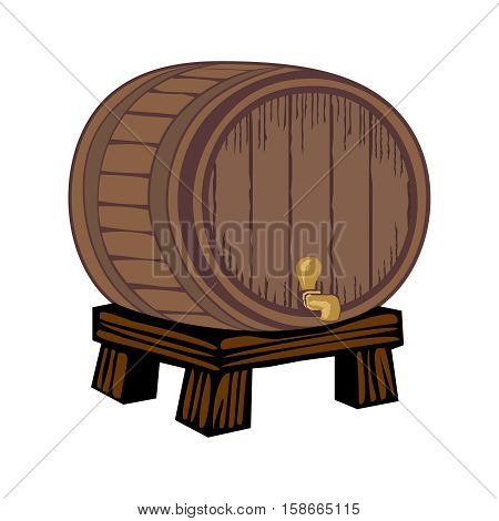 Wooden barrel with a tap on the legs and the plate isolated