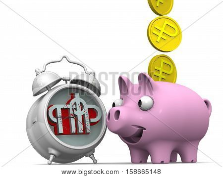 Favorable savings in the pension fund of the Russian Federation. Alarm clock the symbol of the pension fund of the Russian Federation and piggy bank with a coin of the Russian ruble on a white surface. Financial concept. 3D illustration. Isolated