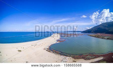Drone view of the Vagia area in Lefkada island Greece
