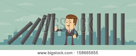 Vector illustration of man stopping the domino effect with falling dominoes