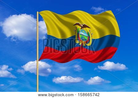 Ecuadorian national official flag. Patriotic symbol banner element background. Correct colors. Flag of Ecuador on flagpole waving in the wind blue sky background. Fabric texture. 3D rendered illustration