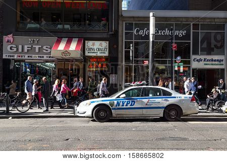 New York, United States of America - November 18, 2016: New York Police Department car parked in the streets of Manhattan