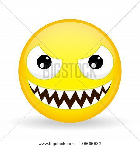Monster emoji. Emotion of laughter. Nibbler emoticon. Cartoon style. Vector illustration smile icon.