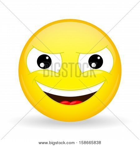 Wickedly grinning emoji. Emotion of gloating. Smirking emoticon. Cartoon style. Vector illustration smile icon.