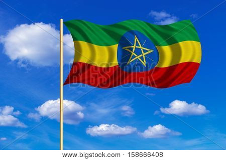 Ethiopian national official flag. African patriotic symbol banner element background. Correct colors. Flag of Ethiopia on flagpole waving in the wind blue sky background. Fabric texture. 3D rendered illustration