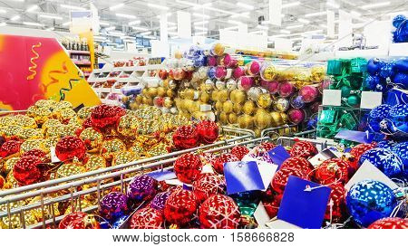 Colored Christmas toys in store. Christmas decorations.