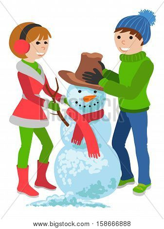 Cartoon vector illustration isolated on white background. Cheerful, happy couple in winter clothes with a snowman