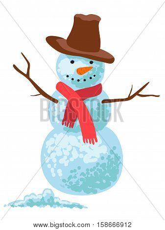 Happy snowman celebrating christmas. Vector illustration isolated on white background.