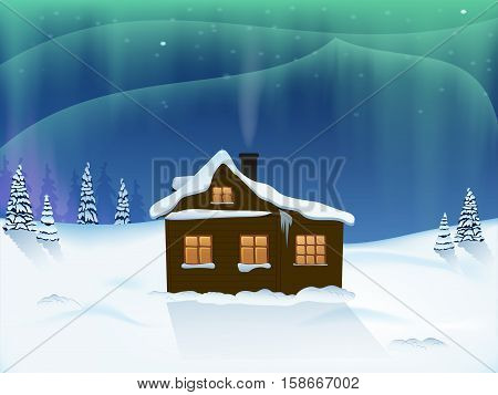 house in the woods. the snowy landscape. Northern lights. vector illustration.