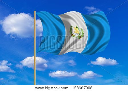 Guatemalan national official flag. Patriotic symbol banner element background. Correct colors. Flag of Guatemala on flagpole waving in the wind blue sky background. Fabric texture. 3D rendered illustration