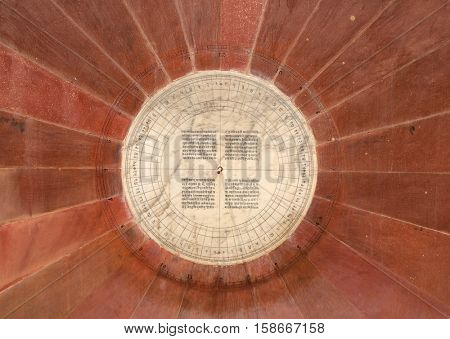 JAIPUR, INDIA - FEBRUARY 16: Narivalaya Yantra, Sundial in Jantar Mantar, ancient observatory. Jaipur, Rajasthan, India on February 16, 2016.