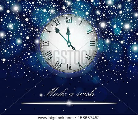 New Year And Christmas Concept With Vintage Clock Blue Style. Vector Illustration