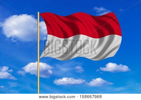 Indonesian national official flag. Patriotic symbol banner element background. Correct colors. Flag of Indonesia Monaco Hesse on flagpole waving in the wind blue sky background. Fabric texture. 3D rendered illustration