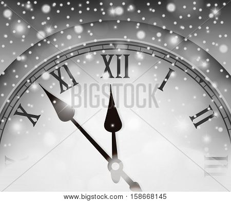 New Year and Christmas concept with vintage clock black and white style. Vector illustration