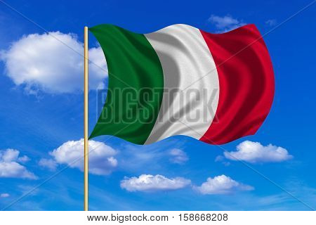 Italian national official flag. Patriotic symbol banner element background. Correct colors. Flag of Italy on flagpole waving in the wind blue sky background. Fabric texture. 3D rendered illustration