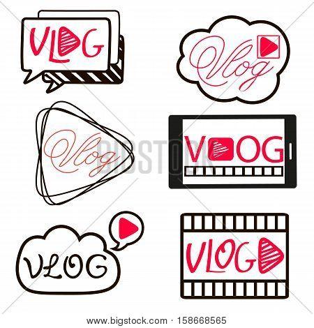 Vlog or video blogging video channel buttons set Vector illustration.