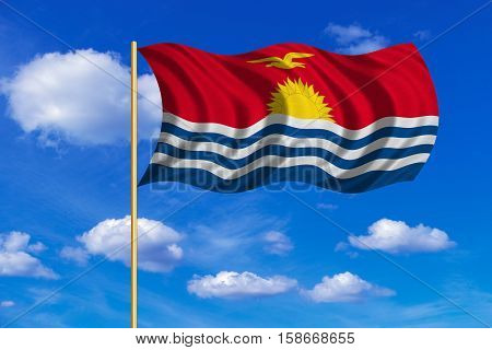 Kiribati national official flag. Patriotic symbol banner element background. Correct colors. Flag of Kiribati on flagpole waving in the wind blue sky background. Fabric texture. 3D rendered illustration