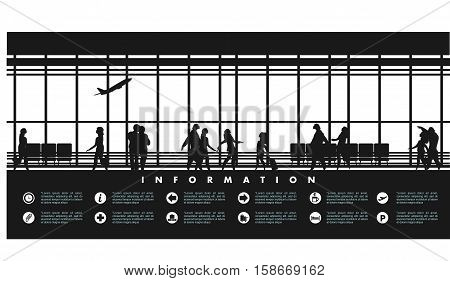 vector illustration of the airport building waiting room large picture window people silhouettes mourners horizontal poster an information board with icons and text Black and white