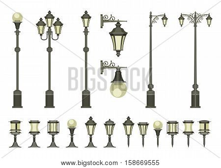 vector set of street lamps and small garden lamps on a white background
