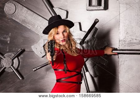 dangerous blonde in a red dress keep covered