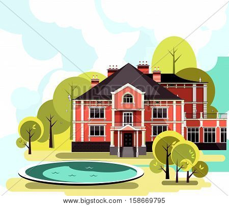 vector illustration of a two-story country mansion with a garden around it landscaped garden maze trees and bushes in the sky