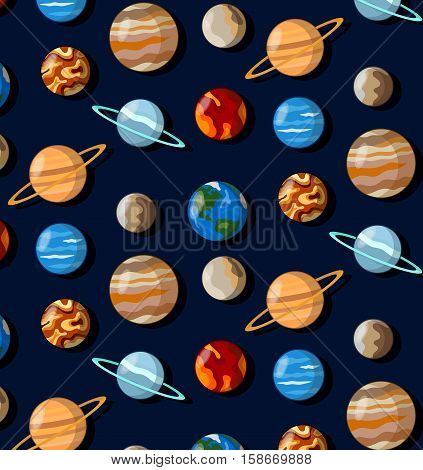 Universe cosmos planets space earth pluto saturn seamless vector pattern