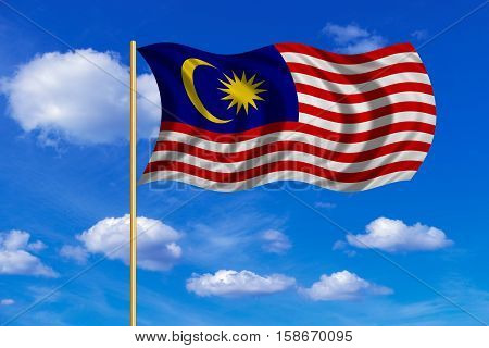 Malaysian national official flag. Patriotic symbol banner element background. Correct colors. Flag of Malaysia on flagpole waving in the wind blue sky background. Fabric texture. 3D rendered illustration