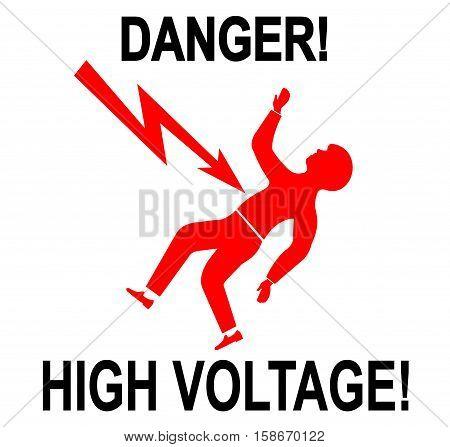 Illustration of warning sign of high voltage