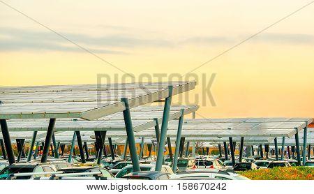 solar panel parking canopy sunset sky background