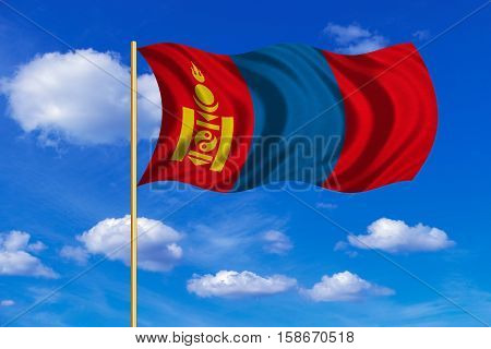 Mongolian national official flag. Patriotic symbol banner element background. Correct colors. Flag of Mongolia on flagpole waving in the wind blue sky background. Fabric texture. 3D rendered illustration