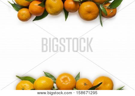 Mandarins. Tangerines close-up on a white background. Background tangerines. Top view with copy space.