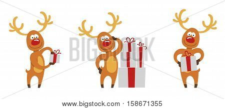 A set of three christmas deer with presents