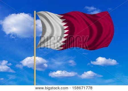 Qatari national official flag. Patriotic symbol banner element background. Correct colors. Flag of Qatar on flagpole waving in the wind blue sky background. Fabric texture. 3D rendered illustration