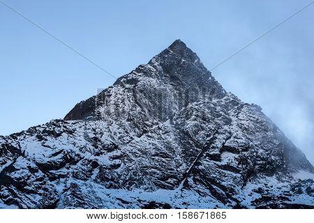 Rocky Mountain Peak Near Cho La Pass In Sagarmatha National Park, Himalayas, Nepal. Snowy Mountain S