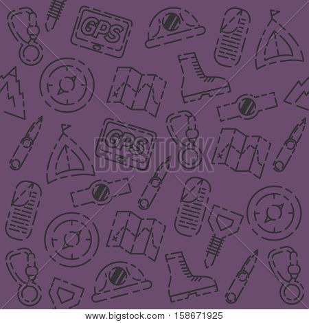 Mountaineering set pattern - creative vector background. Different colors variations. Mountaineering concept layout.
