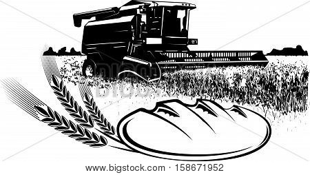 Vector image of a combine harvesting.It achieved as prints.