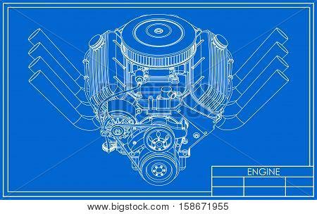 Hot rod V8 Engine drawing on a blue background